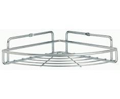 Sanwood by Nicol 9346100 - Mensola angolare da cucina, telaio in griglia metallica cromata, misura: L, 23 x 23 x 7 cm