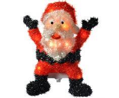 WeRChristmas - Decorazione natalizia a forma di Babbo Natale alto 48 cm, da interni, illuminata con 20 luci LED, con rivestimento glitter