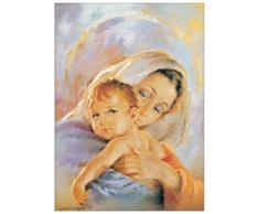 Artopweb Pannelli Decorativi Madonna con Bambino Quadro, Legno, Multicolore, 50x1.8x70 cm