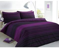 Sleepdown Textured Stripe Purple Set Copripiumino per Letto King Size, Cotone, Viola
