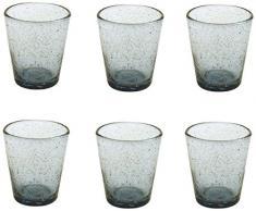 Villa dEste Home Tivoli Cancun Set Bicchieri Acqua, Blu, 9 cm, 6 unità