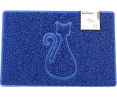 Nicoman Zerbino a Forma di Gatto in Rilievo, Lavabile, Blue, Medium (75x44cm)
