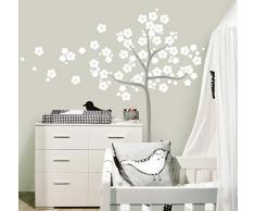 MYVINILO - adesivi murali per bambini - Sakura / bianco / argento (90 x 100 cm)