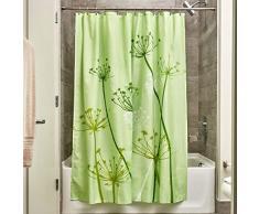 InterDesign Thistle Tenda da doccia, Tenda per vasca da bagno morbida e lavabile, Stabile tenda in poliestere 183,0 cm x 183,0 cm, Poliestere verde