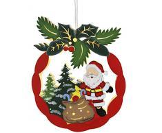 Best Season 270-49 Santa Mistletoe - Finestra di Natale ornamento con luci (10 ledes calda luce, legno bianco, 22 x 28 cm), la progettazione Babbo Natale