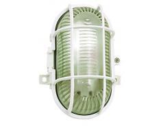 VELAMP Lampada Turtle-B Applique a Parete/plafoniera Ovale. in plastica + Vetro E27 Max 60W. Compatibile LED IP44: per Interno o Esterno. per Balconi, Garage, Veranda, Bianco