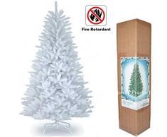 SHATCHI Albero di Natale Artificiale da 1,5 m, Bianco Neve, 390 Punte di Pino, con Supporto in Metallo, 150 cm, Decorazione per la casa, Plastica, 5FT