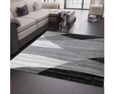 VIMODA Tappeto Soggiorno Moderno Motivo Geometrico a Righe in Grigio Bianco Nero 80 x 150 cm