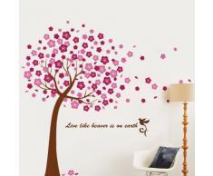 Walplus 175X150 cm adesivi da parete Fiori di ciliegio rimovibile autoadesivo arte murale decalcomania vinile DECORAZIONE CASA fai-da-te VIVENTE ufficio camera letto carta parati cameretta bimbi