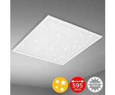 Briloner Leuchten Plafoniera a LED, Lampada da soffitto con Fantasia a Stelle, 4.100 Lumen, 4.000 Kelvin, 38 Watt, Bianca, 595x595x60 mm (Larghezza x Lunghezza x H)
