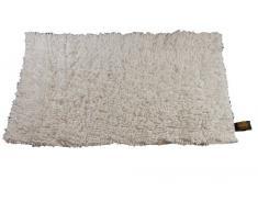 Gözze - Tappeto a Pelo Lungo in Filato di Lana Tinta Unita 50 x 70cm Beige