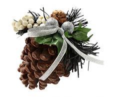 WeRChristmas ornamenti pigna, decorazione di Natale, 5 pezzi, nero / argento