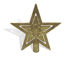 Urban Design Puntale per Albero di Natale a Forma di Stella, in Pizzo, con Glitter (Oro Glitterato)