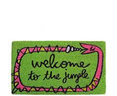 laroom Zerbino Welcome to The Jungle, Jute And Base Antiscivolo, Verde, 40 x 70 x 1.8 cm