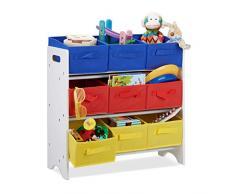 Relaxdays Scaffale per Bambini con Box, 9 Cestini Pieghevoli con Manici, Portagiochi, Mobiletto, Poliestere, Bianco/Colorato, 62 x 63 x 28 cm