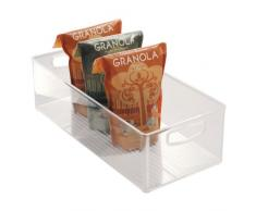 iDesign Organizer cucina, Porta oggetti cucina grande e profondo, Pratica scatola plastica aperta con manici, trasparente