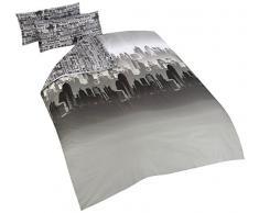 Cityscape Catherine Lansfield-Copripiumino Matrimoniale e federa 240 x 220 cm + 50 x 85 x 2 cm grigio