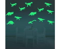 Fillplus Adesivi murali Dinosauro Glowing Sticker murale Decalcomanie Arte Soggiorno Scuola Materna Ristorante Hotel Cafe Ufficio Decorazioni per la casa Decorazione, Multicolore