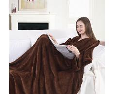 DecoKing 97014Â TV del soffitto 170Â x 200Â cm Coperta Marrone con Maniche e Tasche Panno in Microfibra Coperta in Pile Coperta in Pile Morbido Marrone Cioccolato Brown Choco