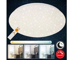 Briloner Leuchten Plafoniera a LED da soffitto - Dimmerabile, Design con Stelle, Regolazione della Temperatura di Colore con Telecomando, 22 Watt, 220 W, Bianco