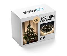 SnowEra Catena Luminosa a Lampadina da 30 m con 200 LED  Illuminazione Natalizia per Albero di Natale Adatta ad Interni ed Esterni con Timer – Colore Luce: Bianco Caldo