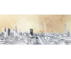 KARE Quadro Metallico con Vista a Londra, 50 x 120 cm, Oro, taglia unica
