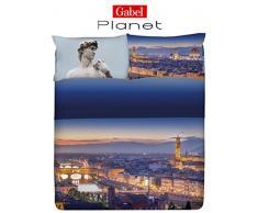 Gabel Planet Firenze Completo Copripiumino, 100% Cotone, Multicolore, Matrimoniale, 250x205x1 cm