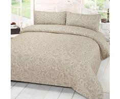 Dreamscene Mayfair damascato Set di biancheria da letto con federe, King-size, colore: panna