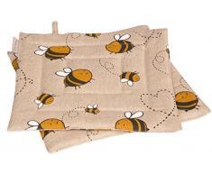 Vaitkute 219062 - Set di 2 presine Biene misto lino con stampa motivo: api 50% lino e 50% cotone lavabili a 40º 240 g/ m2 23 x 23 cm colore: naturale/giallo