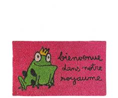 laroom Zerbino Motivo Bienvenue Dans Notre Royaume, Jute And Base Antiscivolo, Rosa, 40Â x 70Â x 1.8Â cm