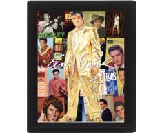 AMBROSIANA Pyramid International - Poster con cornice effetto 3D con album di Elvis Presley, 10x8 cm