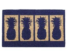 Zerbino Entryways 45 x 75 cm, Tessuto a Mano in Fibra di Cocco, Extra Spessore, Decorazione con Quattro Ananas
