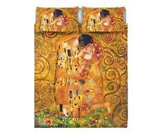 Italian Bed Linen Parure letto matrimoniale 2 Pst Con Stampa Digitale, 1 Lenzuolo + 2 Federe, Multicolore, 255 X 300 X 1 Cm