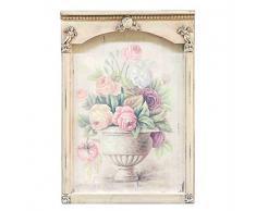 DiKasa Home Pannello a Parete Vaso Fiori Shabby, Legno, Multicolore, 51x2x35 cm