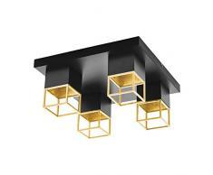 EGLO MONTEBALDO Lampada da soffitto 5 W, Nero, Oro