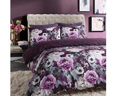 Sleepdown - Copripiumino reversibile con motivo floreale, colore: Blu, Cotone Poliestere, Viola, King