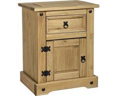 Corona - Comodino in legno, 1 cassetto e 1 sportello