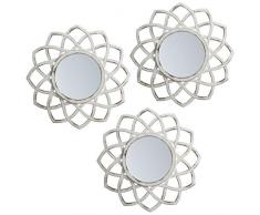 Lama specchi da parete, bianco, 75 x 25 x 1.5 cm, 3 pezzi