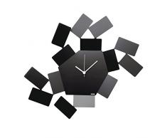 Alessi La Stanza dello Scirocco MT19 B Orologio da Parete Analogico di Design in Acciaio Inossidabile 18/10, Nero