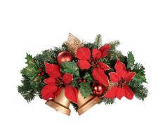 WeRChristmas - Decorazione di Natale, Campane con fiori e foglie, 30 cm, Rosso/Oro
