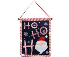 WeRChristmas - Decorazione natalizia a bandiera, da appendere, motivo: Babbo natale Ho-Ho-Ho, con luce LED cangiante, 50 cm, multicolore