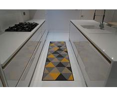 Serdim Rugs Gelback Tappeto Antiscivolo dal Design Geometrico per Cucina e corridoi Multiuso – tappetini, Oro Scuro, 67x220cm(22 x73)