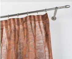 InCasa - Bastone per Tenda, 20 mm, Lunghezza 280 cm, in Acciaio Satinato con Supporti più Lunghi, Colore: Grigio