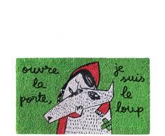 laroom Zerbino Motivo ouvre la Porte, Je Suis Le Loup, Jute And Base Antiscivolo, Verde, 40Â x 70Â x 1.8Â cm