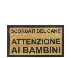 laroom zerbino Design Scordati di Canna, attenzione ai Bambini, Iuta e Base Antiscivolo, Marrone, 40Â x 70Â x 1.8Â cm