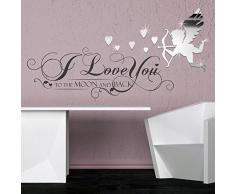 WALPLUS ADESIVI DA PARETE I LOVE YOU citazione with love cupido SPECCHIO ARTE murali Café ALBERGO RISTORANTE UFFICIO DECORAZIONE CASA