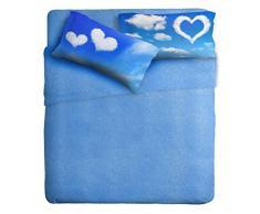Ipersan Cielo Completo Letto 2 Piazze, 100% Puro Cotone, Azzurro, 16 x 3 cm