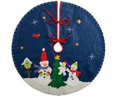 WeRChristmas-Pupazzo di neve albero di Natale gonna decorazione, Tessuto, Multicolore, 90cm, grande
