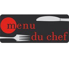 ID Matte 50120 Tappeto da cucina in poliammide/PVC, motivo: posate e scritta menu du chef, multicolore, dimensioni 120 x 50 x 0,4 cm)