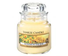 Yankee Candle 1351654E Candele in Giara Piccola Flowers in The Sun, Vetro, Giallo, 6.2x6x7.1 cm